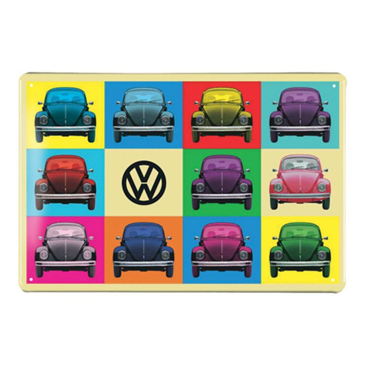 Placa de metal con vochos estilo pop parte de VW Collection Vintage