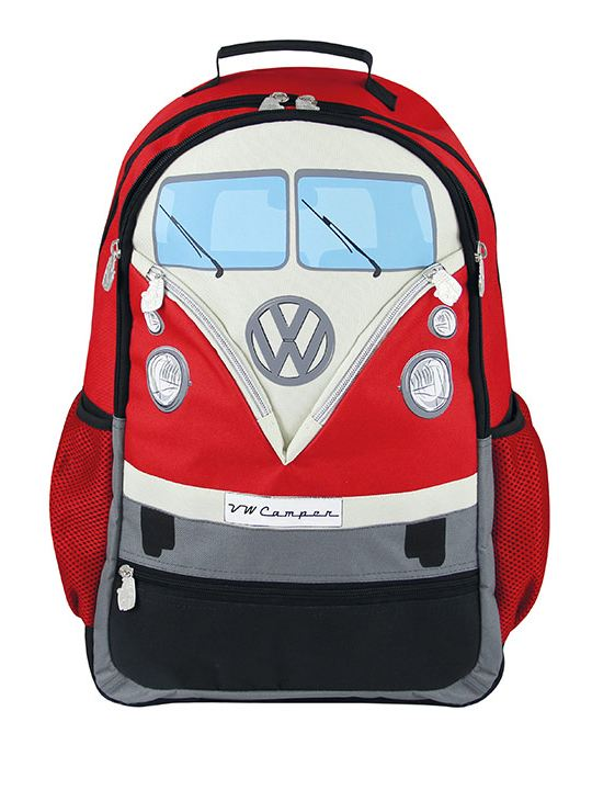 Mochila grande con forma de combi en color rojo parte de VW Collection