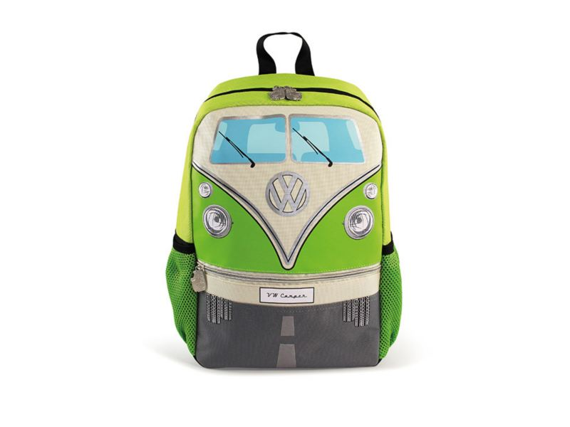 Mochila pequeña con forma de combi en color verde parte de VW Collection