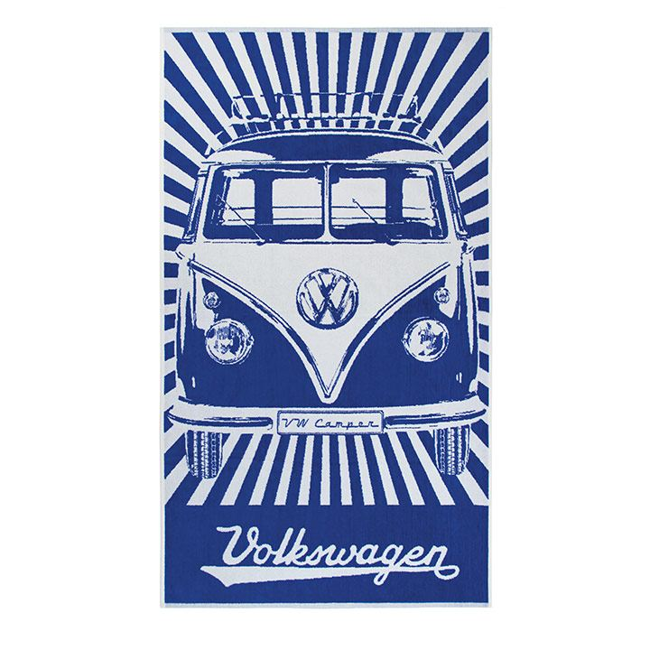 Toalla de playa en color azul y blanco con estampado de Combi de VW Collection Vintage