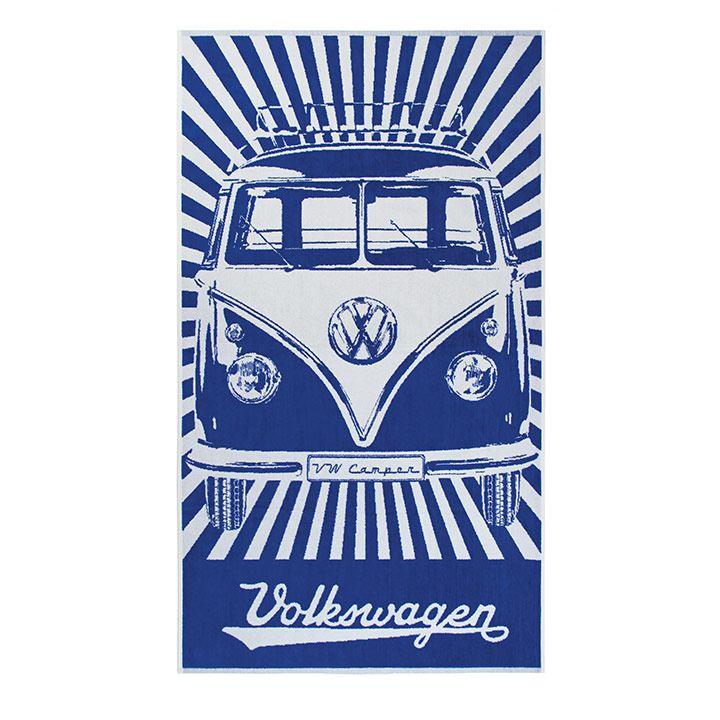 Toalla de playa en color azul y blanco con estampado de Combi de VW Collection Vintage