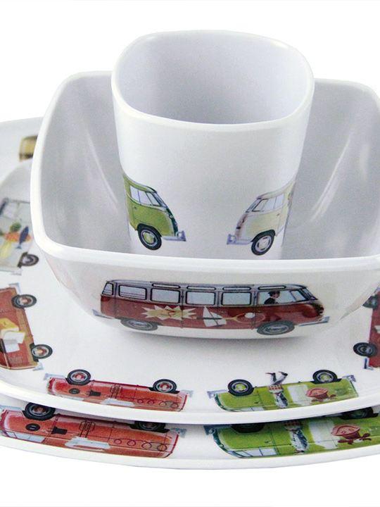 Juego de vajilla con impresos vintage de Combi de Volkswagen