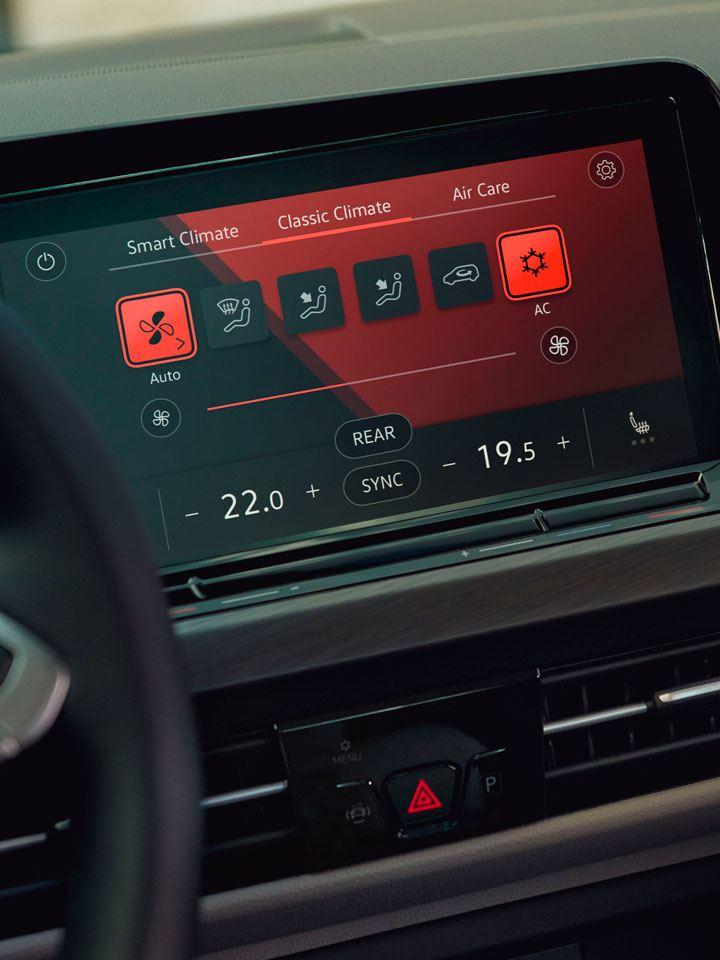 Detalle de la pantalla del Volkswagen Golf