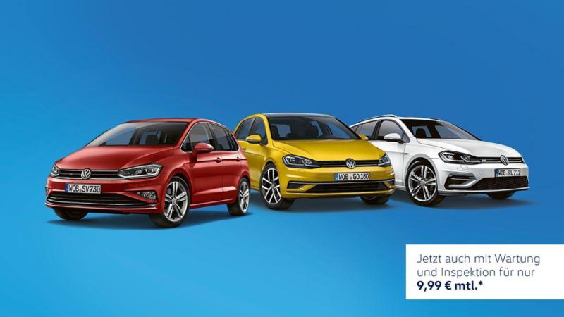 VW Golf, Golf Sportsvan und Golf Variant stehen vor blauem Hintergrund
