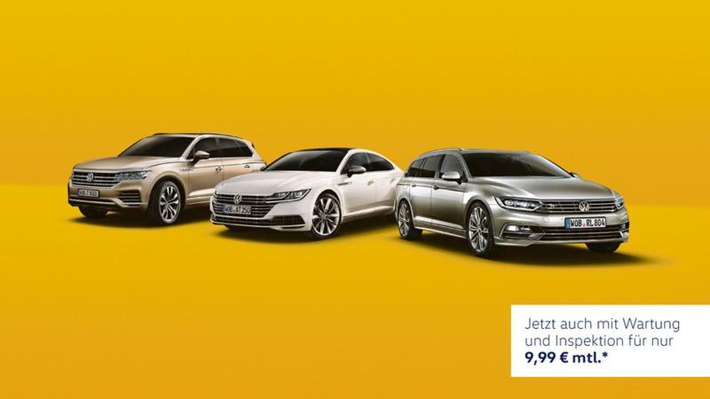 VW Touareg, Arteon und Passat vor gelbem Hintergrund