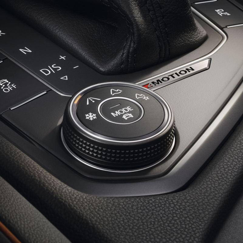 Detalle del selector de perfiles de conducción de un Volkswagen Tiguan