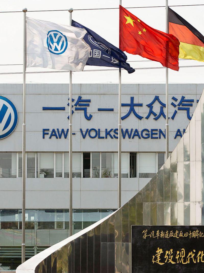 Firmengebäude eines Volkswagen Standortes in China