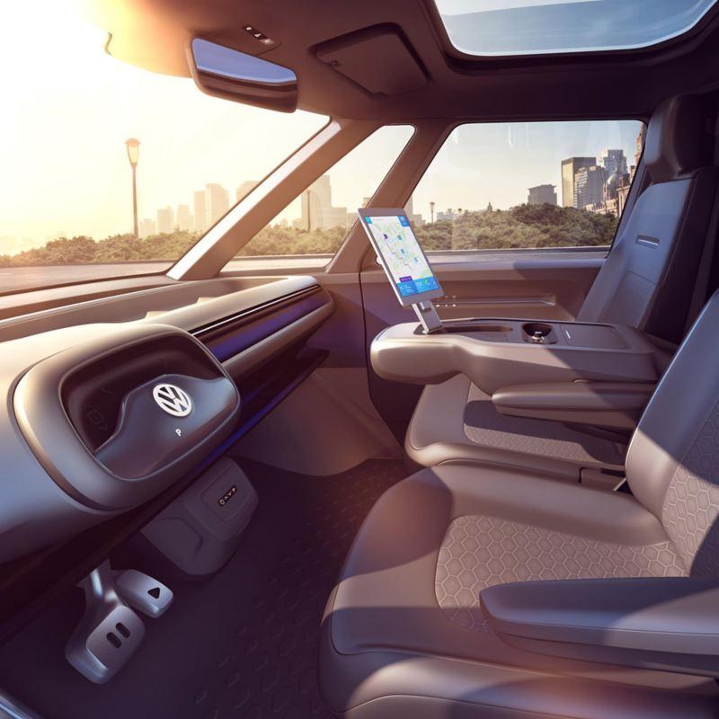 vw Volkswagen varebil elvarebil elektrisk ID. BUZZ Cargo interiør førerhus