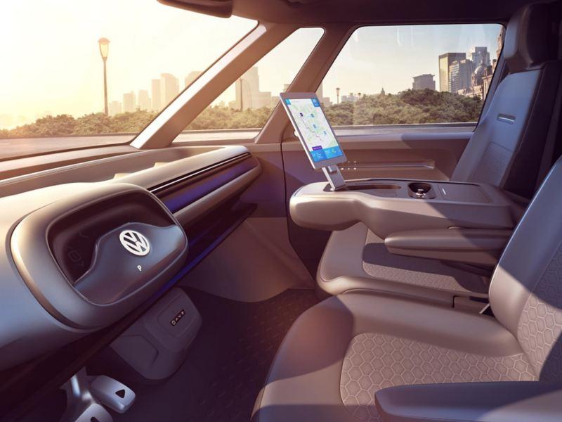 vw Volkswagen ID. Buzz Cargo el varebil elbil elektrisk miljøvennlig utslippsfri interiør førerhus selvkjørende
