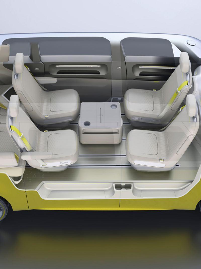 vw Volkswagen ID. Buzz stor elbil elektrisk personbil familiebil seteløsning