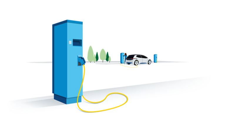 Illustration of a public charging station