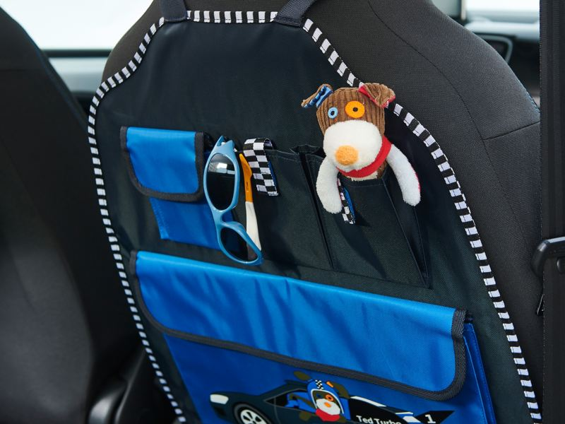 VW cuddly toy, Ted Turbo, in the read seat organiser in Ted Turbo style