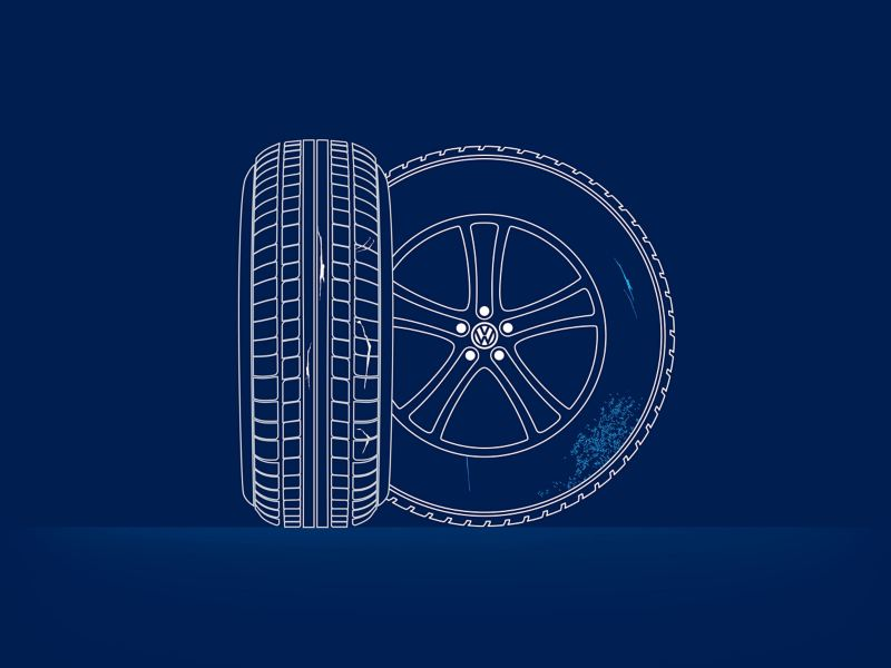 Illustration of the tyre damage: cracks, ruptures and porous areas