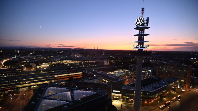 Panorama of Volkswagen's Hannover site at night