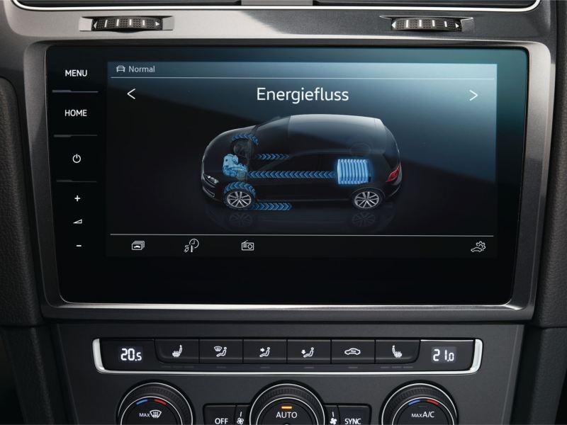 Vista frontal del flujo de energía a través de la pantalla de un e-Golf