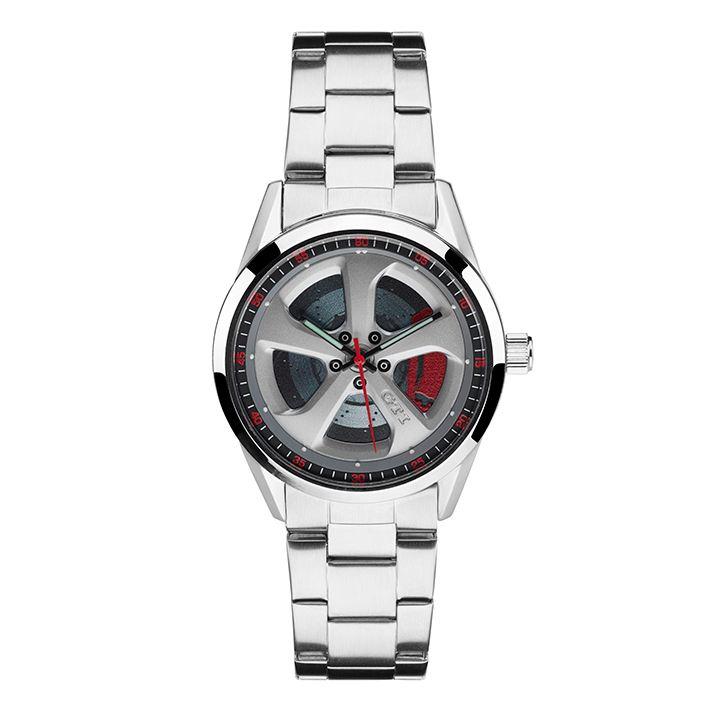 Reloj en color plata de acero fino parte de la colección GTI de Volkswagen