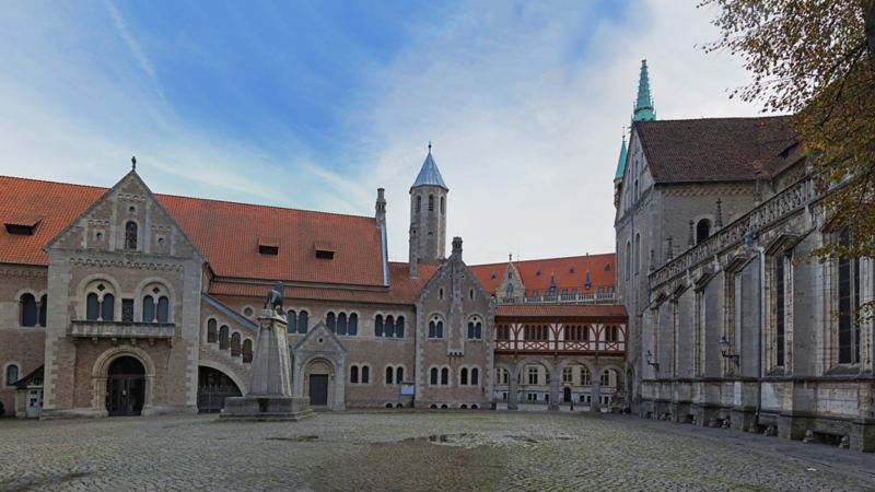 A square surrounded by historical buildings