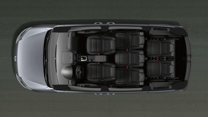 Vista superior esquemática de las siete plazas del Volkswagen Sharan
