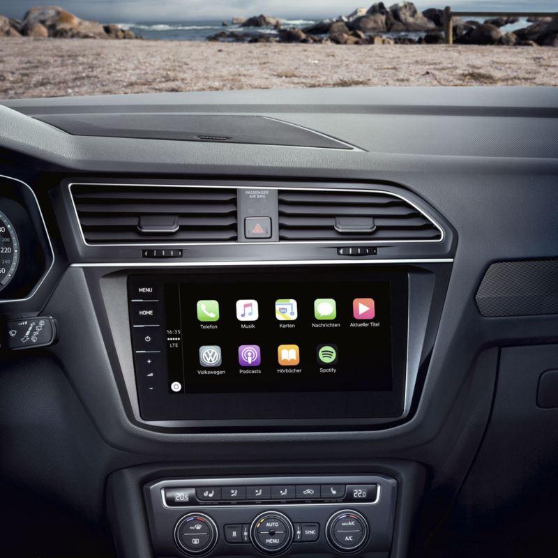 Primer plano del sistema app-connect del Volkswagen Tiguan Allspace