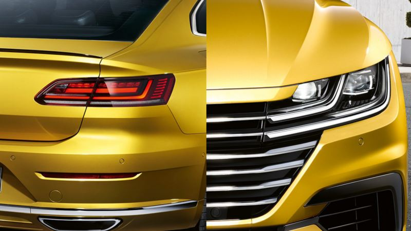 A VW Arteon viewed from the front and rear with a focus on the headlight/tail light cluster LED technology