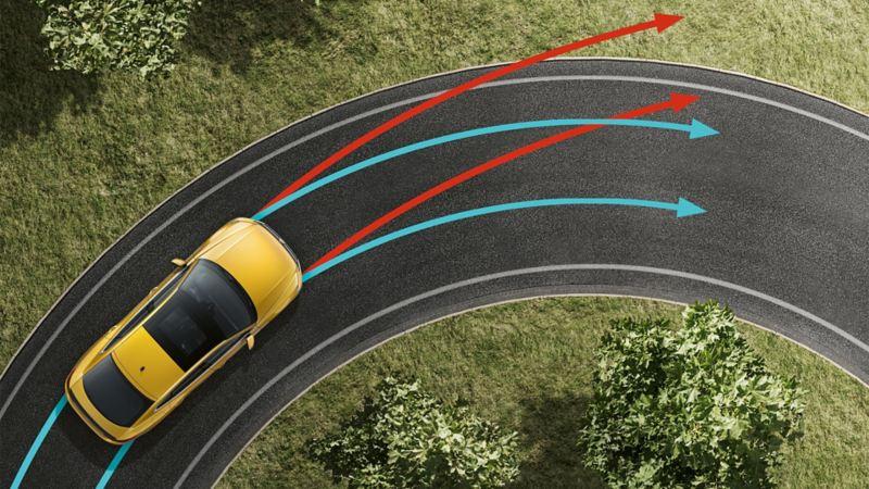 Ein VW Arteon, von oben betrachtet, fährt um eine Rechtskurve. Die Sensorik der elektronischen Differenzialsperre ist durch Pfeile dargestellt.
