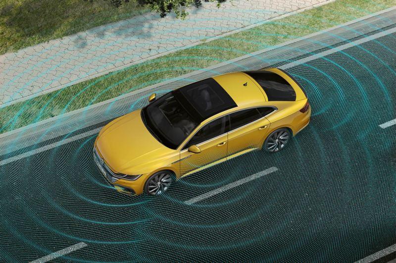 """Rappresentazione schematica della vista della zona circostante """"Area View"""" di VW Arteon"""