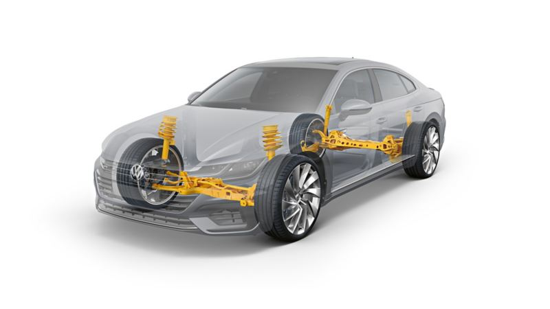 Schematic diagram of the running gear in a VW Arteon