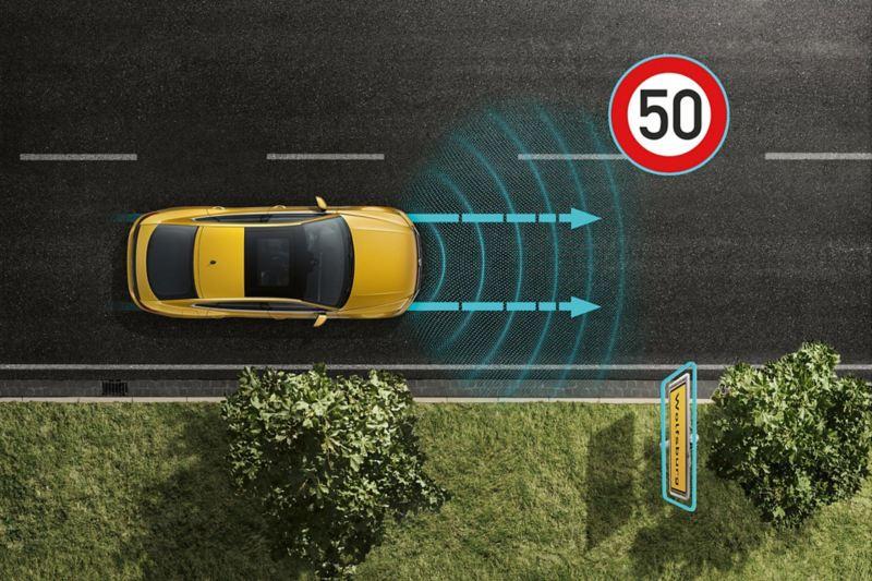 Arteon automatische Distanzregelung ACC mit vorausschauender Geschwindigkeitsregelung