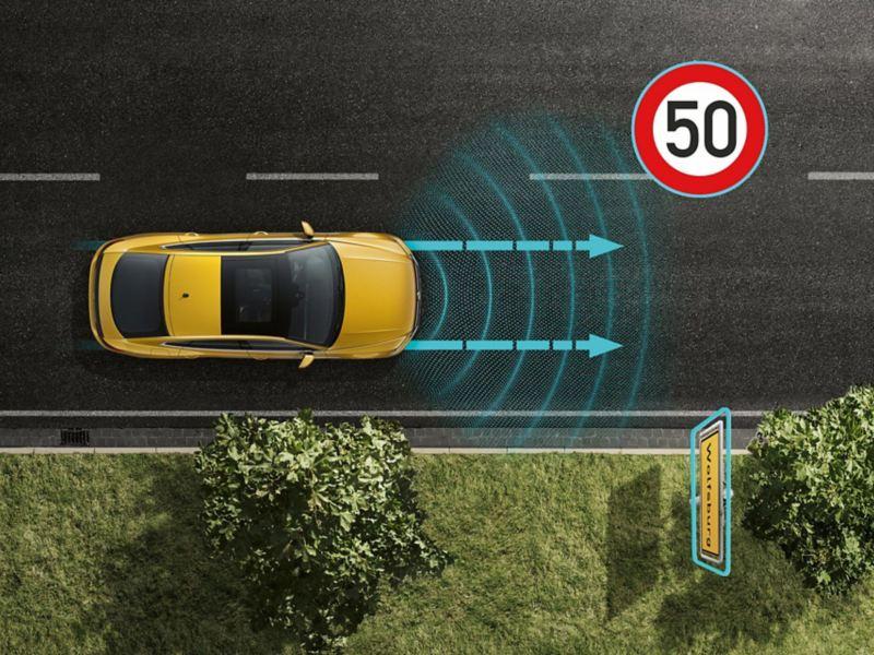 Arteon automātiskā kruīza kontrole ACC ar prognozējošo ātruma kontroli