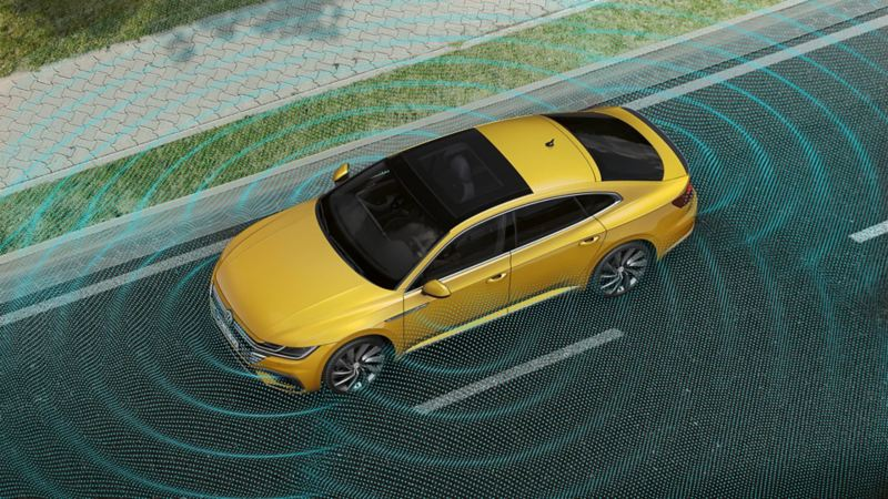 Schematyczne przedstawienie systemu prezentacji otoczenia Area View w VW Arteon