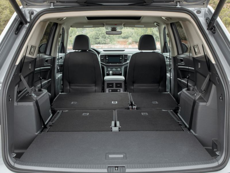 2021 VW Atlas trunk space with folded seats