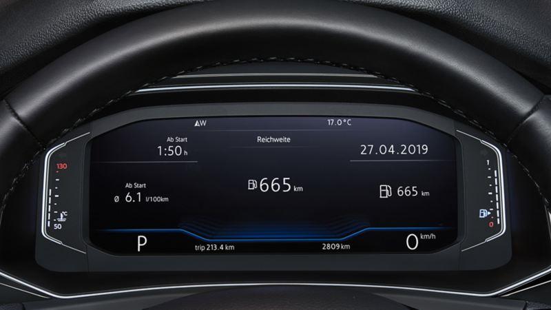 Vista attraverso il volante sull'Active Info Display