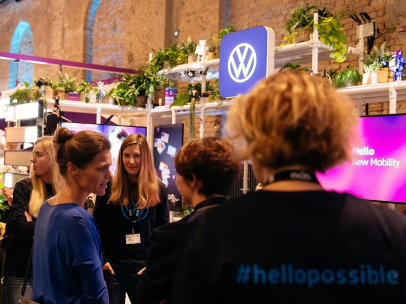Visitors mingling at a Volkswagen careers event
