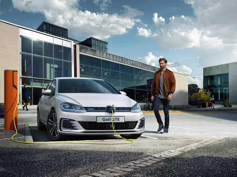 Volkswagon Golf GTE charging in an office carpark