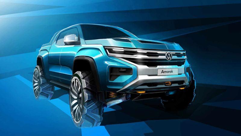 vw Volkswagen den nye Amarok konseptskisser konseptbil 2022