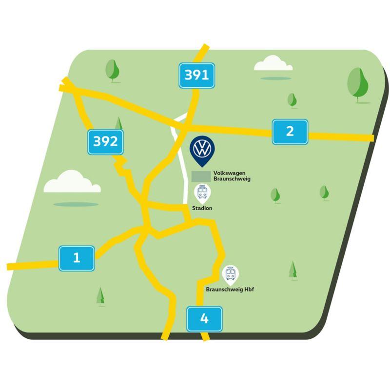 Anfahrtskizze zum Standort  Braunschweig