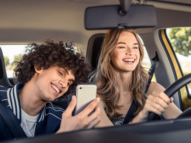 """Android Auto med We Connect navigationssystem """"Discover Pro""""."""