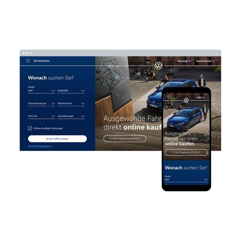 Abbildung zeigt die Website der Autosuche auf Desktop und einem Handy