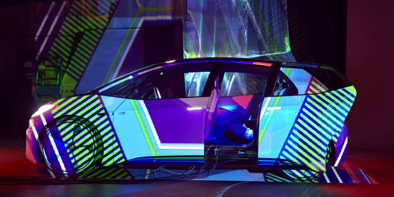 The ID. concept car covered with graphical projections