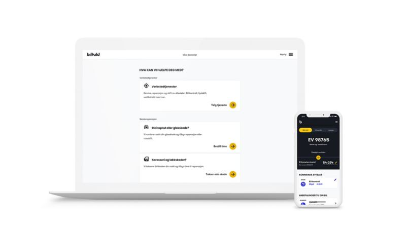 Bilhold digital tjeneste for booking av service på desktop og mobil