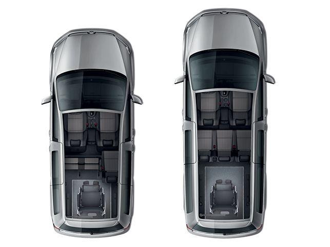 Configuração dos lugares de passageiros na Caddy Kombi para adaptar a passageiros em cadeira de rodas.