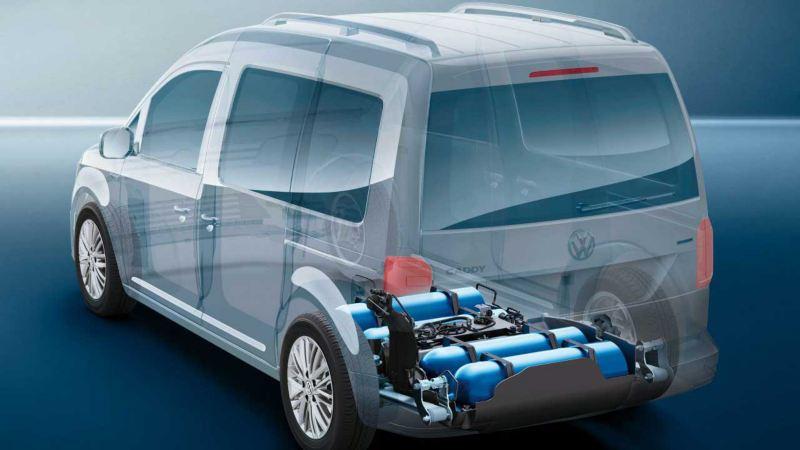 vw Volkswagen Caddy TGI biogass gassdreven varebil liten miljøvennlig familiebil lavgulvteknologi CNG gasstanker