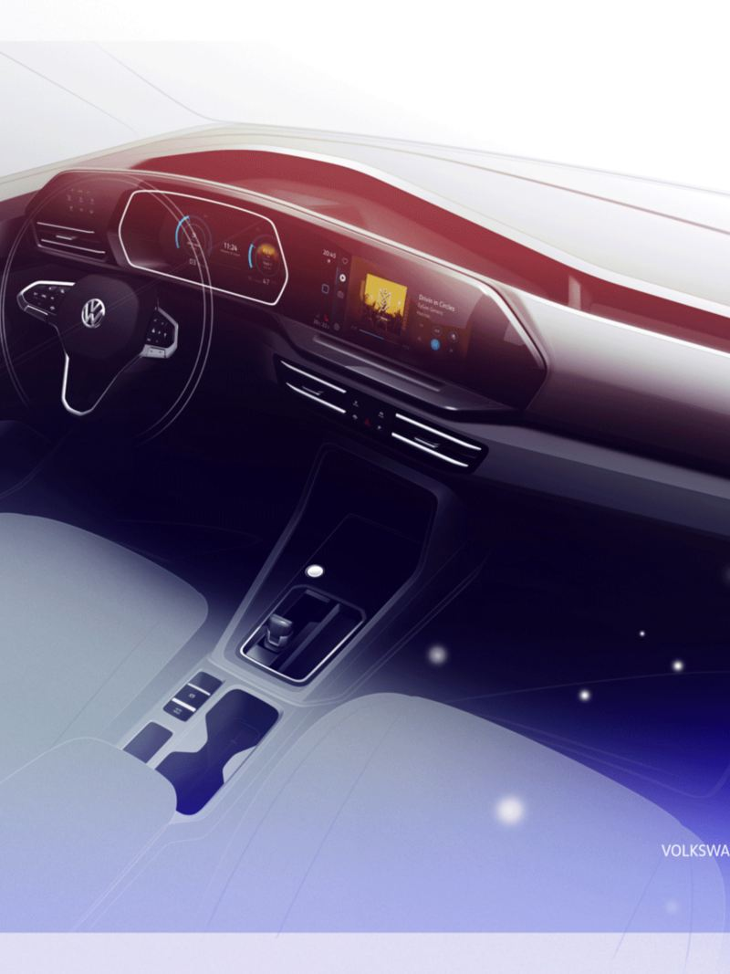 Nye Caddy 5 stor personbil familiebil stort bagasjerom 7-seter digital cockpit infotainment