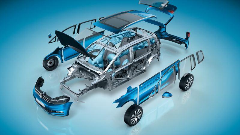 Rappresentazione schematica della centralina degli airbag su una Volkswagen