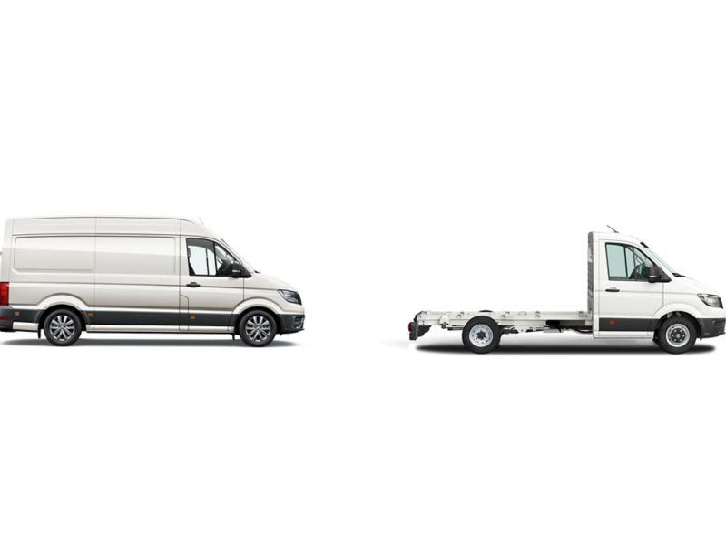 Duas versões da carrinha Crafter: furgão e caixa aberta.
