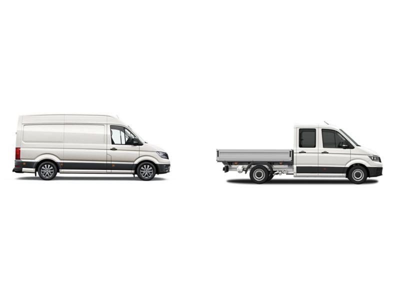 2 versões da carrinha VW Crafter: furgão e caixa aberta.