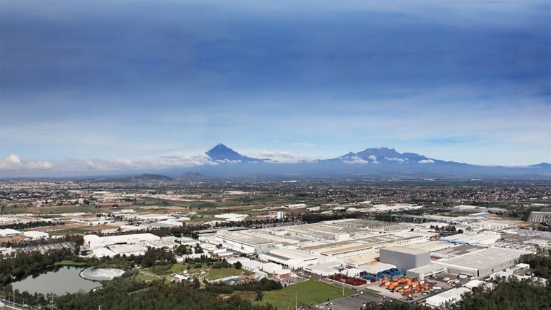 Panoramic top view on the Volkswagen site of Mexico