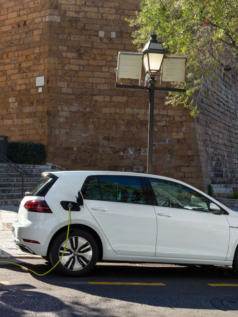 VW e-Golf charging on a wall box