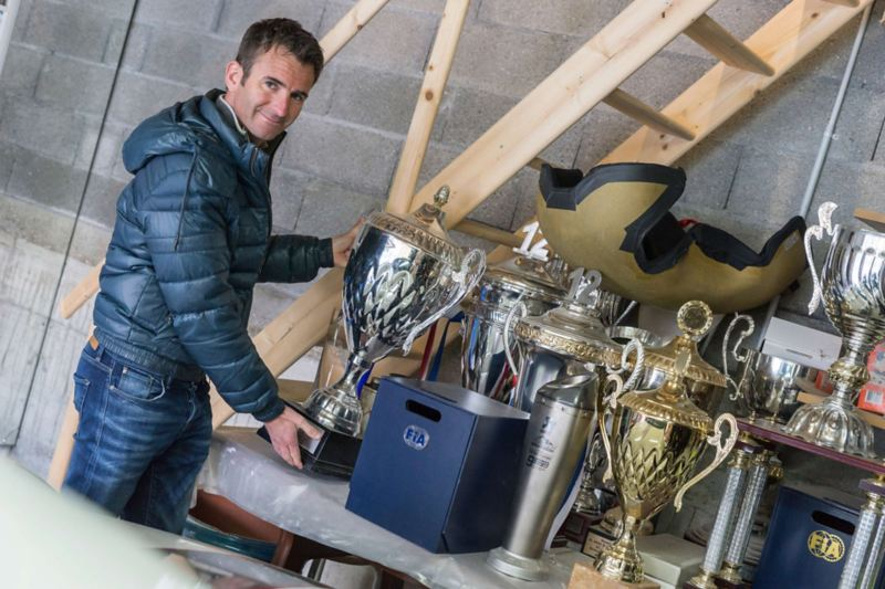 Romain Dumas and his trophies