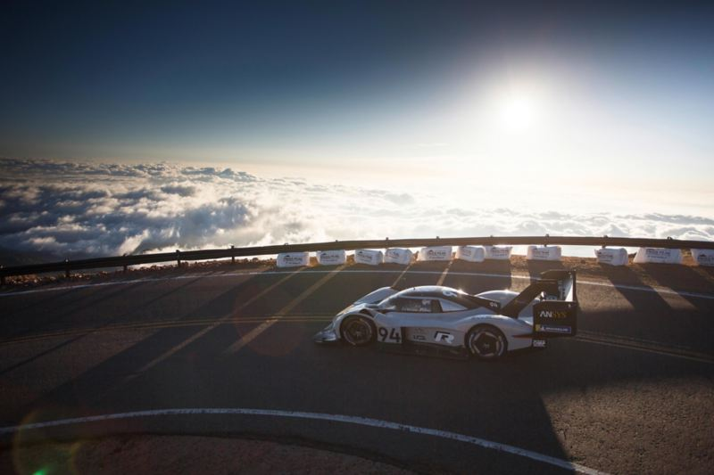 The ID. R Pikes Peak on a stretch of road above the clouds